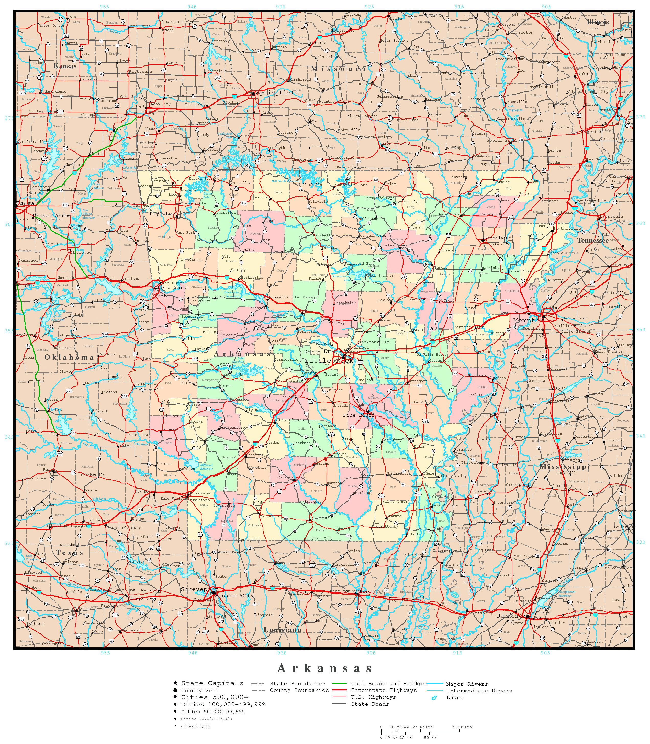 Large Detailed Administrative Map Of Arkansas State With All Roads - State map of arkansas with cities