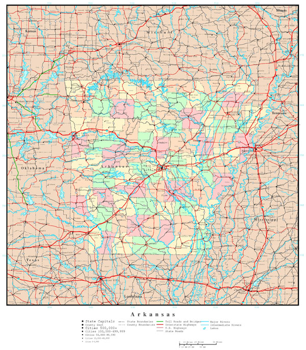 Large detailed administrative map of Arkansas state with all roads and cities.