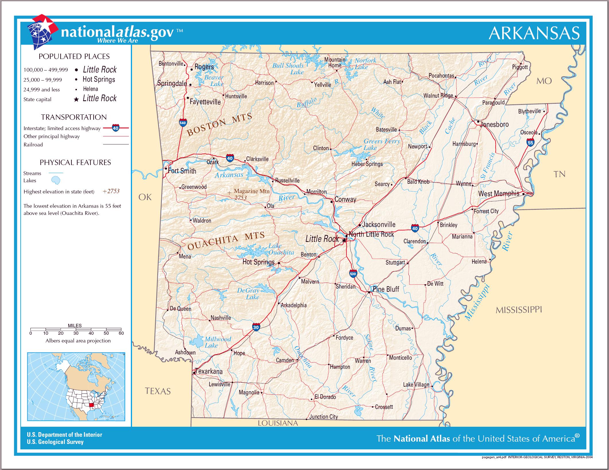Large detailed map of Arkansas state Arkansas state large detailed