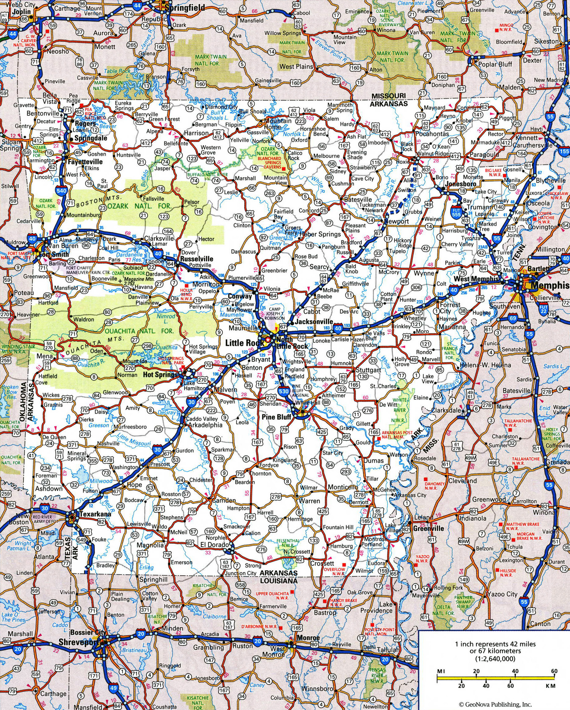 Large detailed roads and highways map of Arkansas state with all