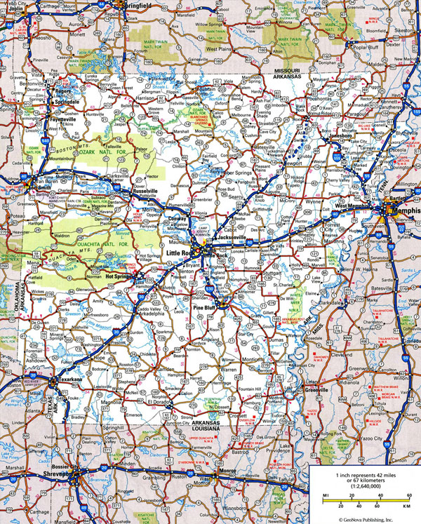 Large detailed roads and highways map of Arkansas state with all cities and national parks.