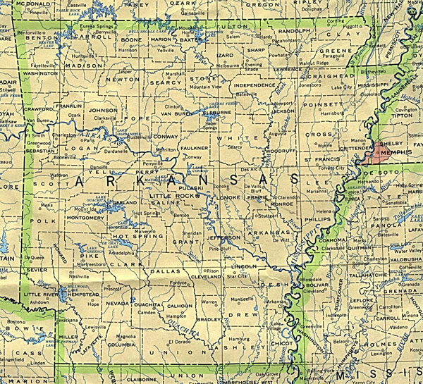 Map of Arkansas state. Arkansas state map.