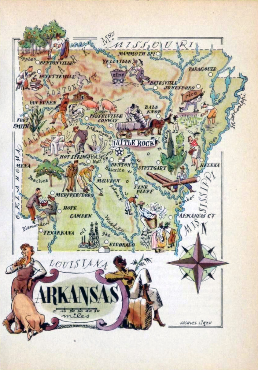 Old illustrated travel map of Arkansas state – 1946 | Vidiani.com ...