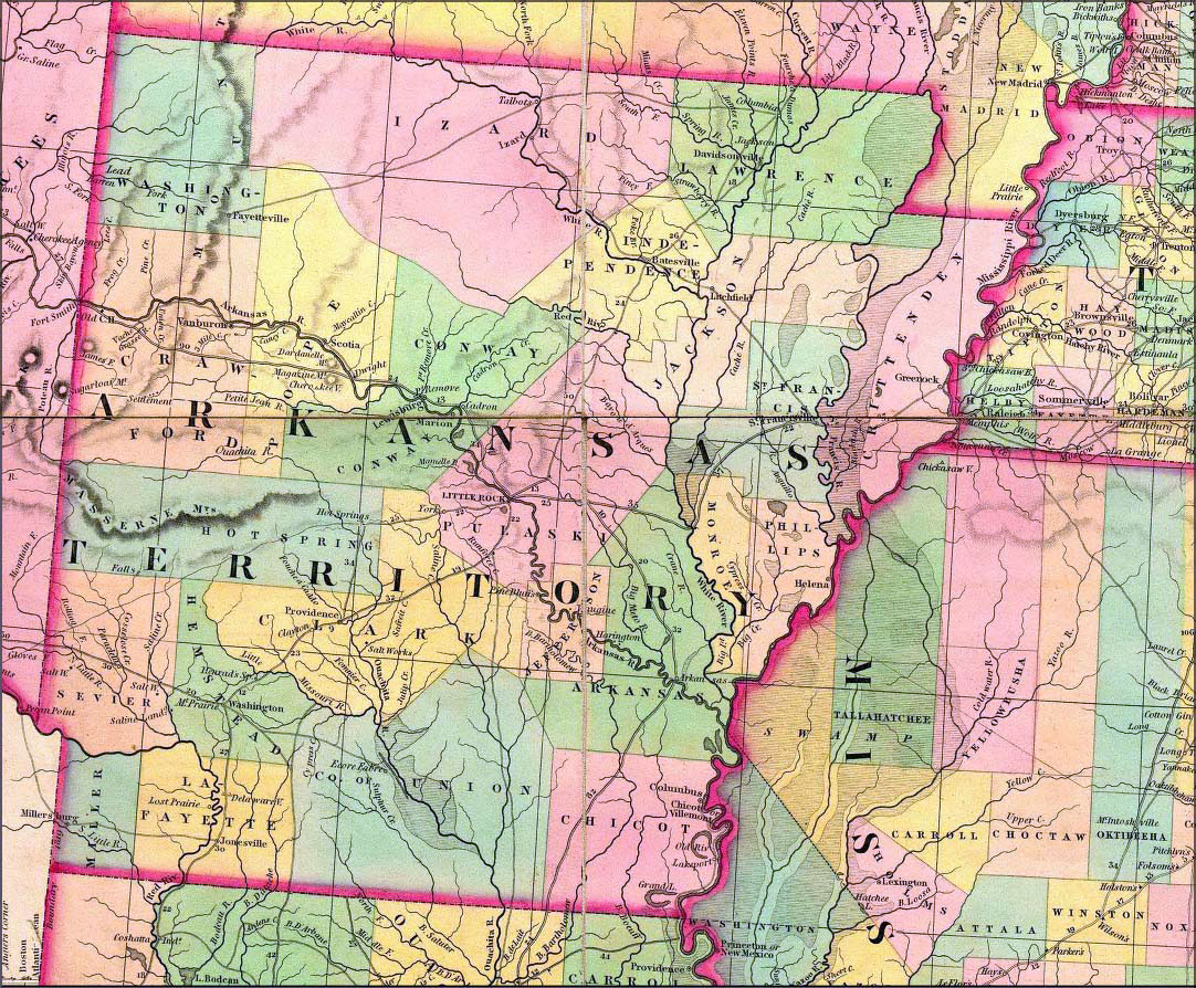 Old map of Arkansas state – 1832. Arkansas state old map ...
