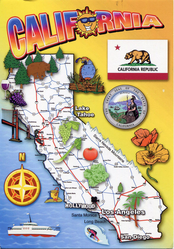 Detailed tourist map of California state.