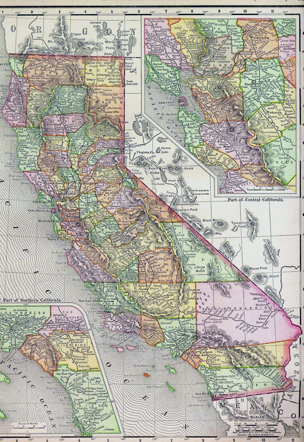 Detaled old administrative map of California state - 1895.