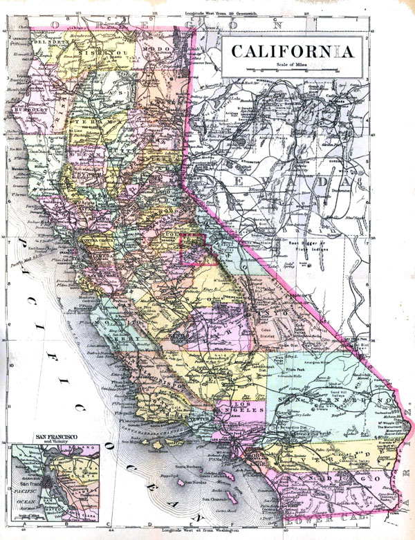 Detaled old administrative map of California state - 1896.
