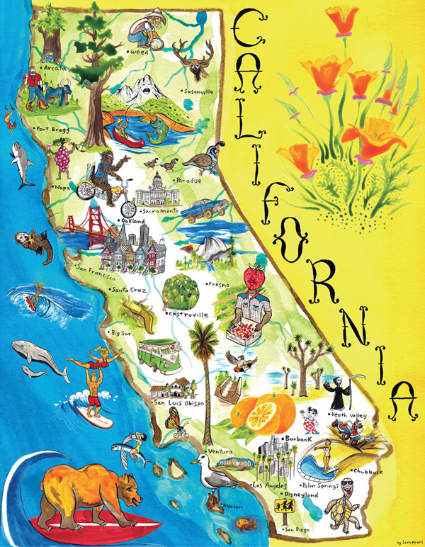 Illustrated tourist map of California.