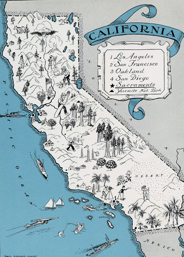 Illustrated tourist map of California state.
