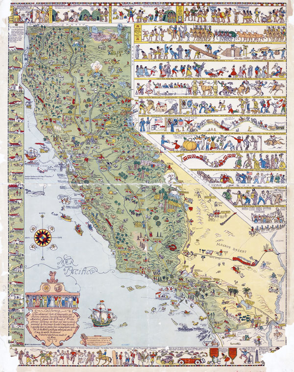 Large detailed old illustrated tourist map of California state.
