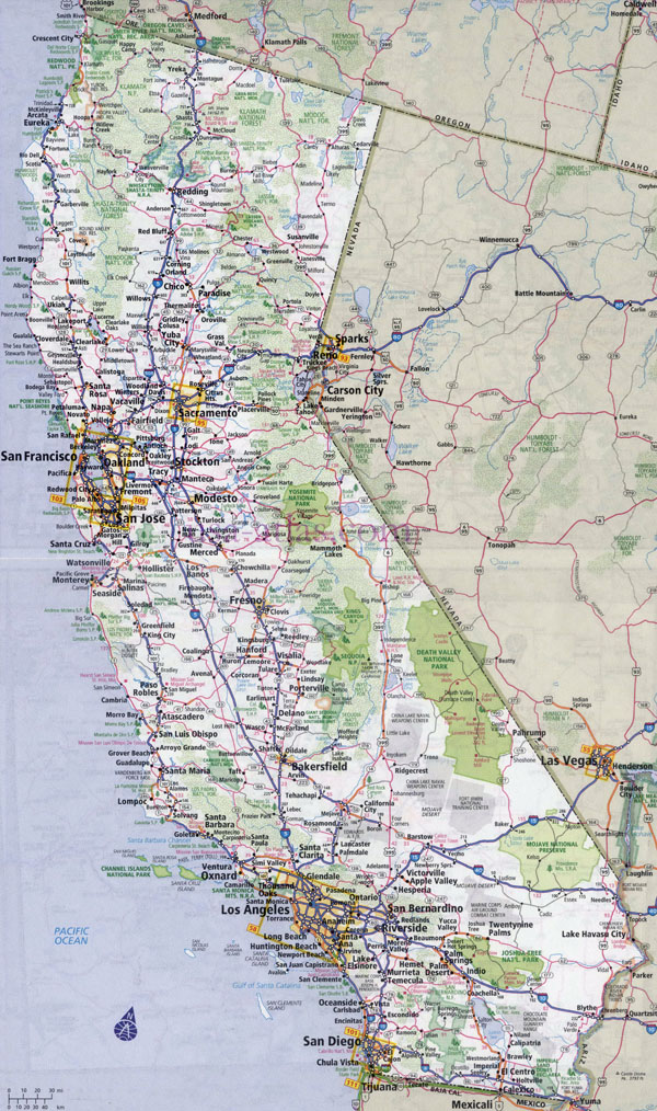 Large detailed road and highways map of California state with all cities.