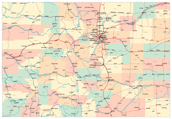 Detailed administrative map of Colorado state with roads and cities.