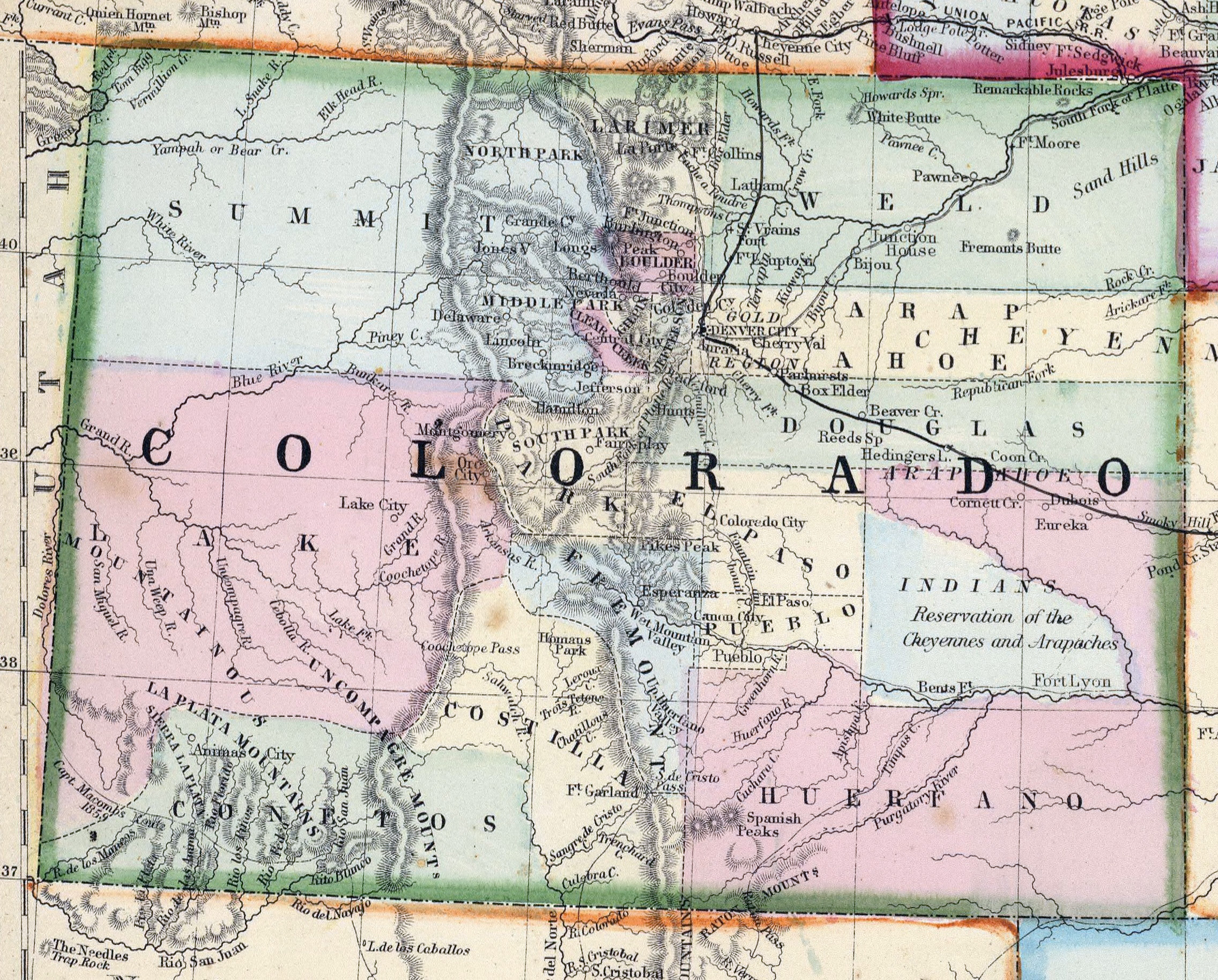 Detailed Old Map Of Colorado State 1870 Colorado State Detailed