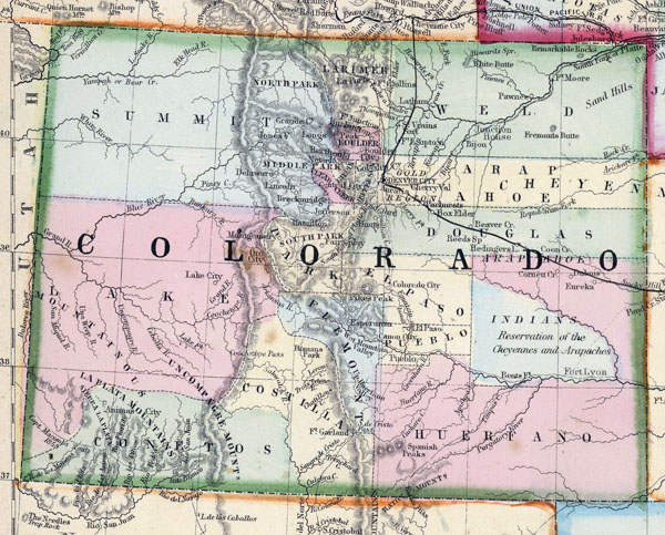 Detailed old map of Colorado state - 1870.