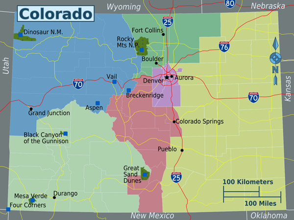 Detailed regions map of Colorado state.
