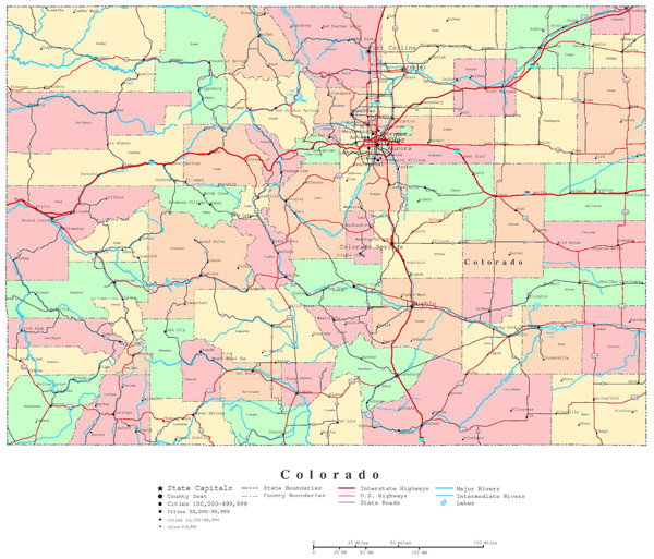 Large administrative map of Colorado state with roads and cities.
