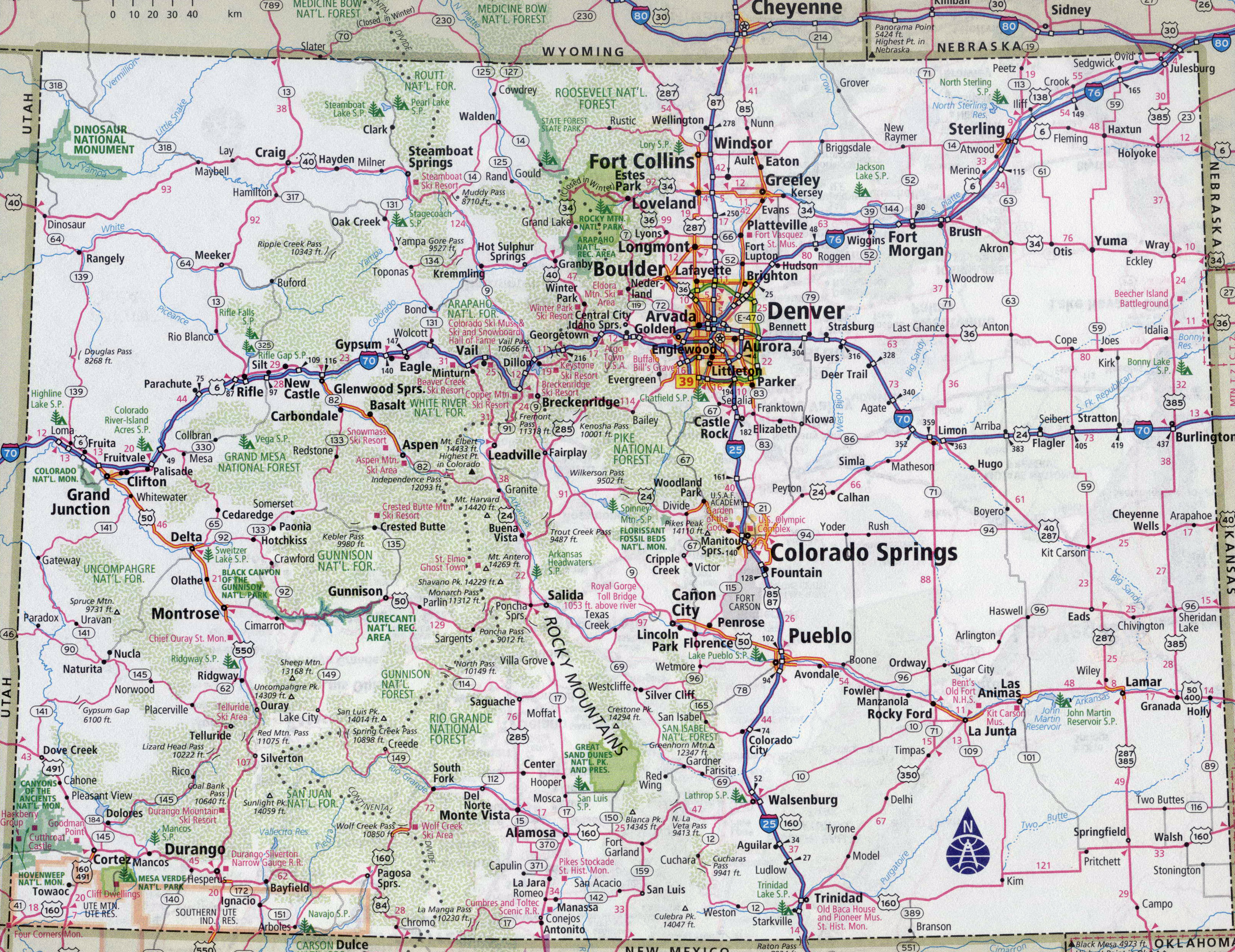 Large detailed roads and highways map of Colorado state ...