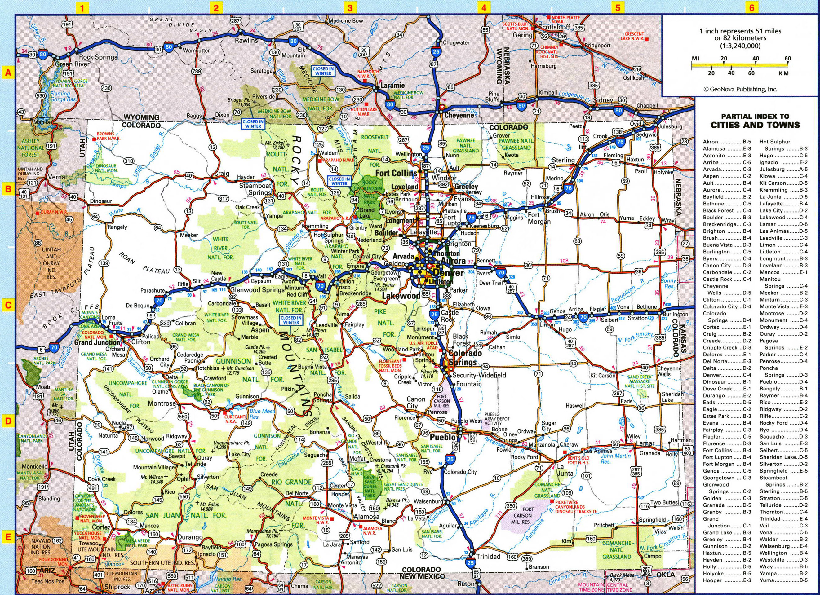 Large detailed roads and highways map of Colorado state with all ...
