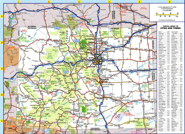 Large detailed roads and highways map of Colorado state with all cities and national parks.