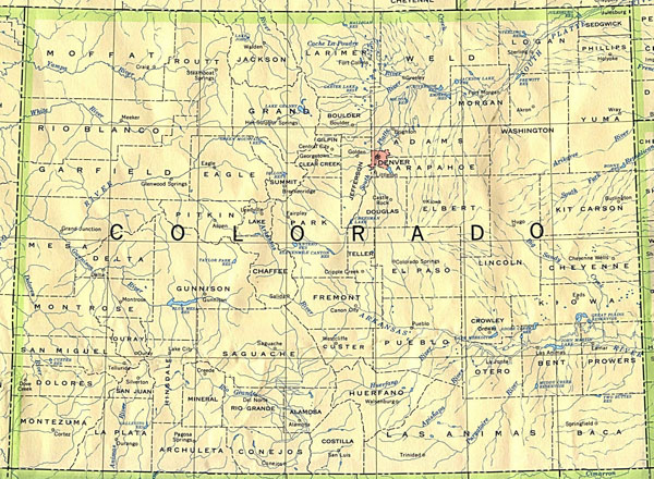 Map of Colorado. Colorado map.