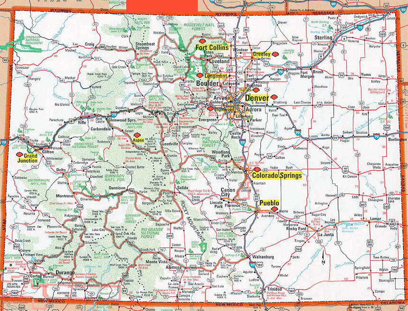 Road And Highways Map Of Colorado State Colorado State Road And - Colorado state map