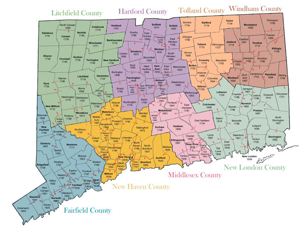 Detailed administrative map of Connecticut.
