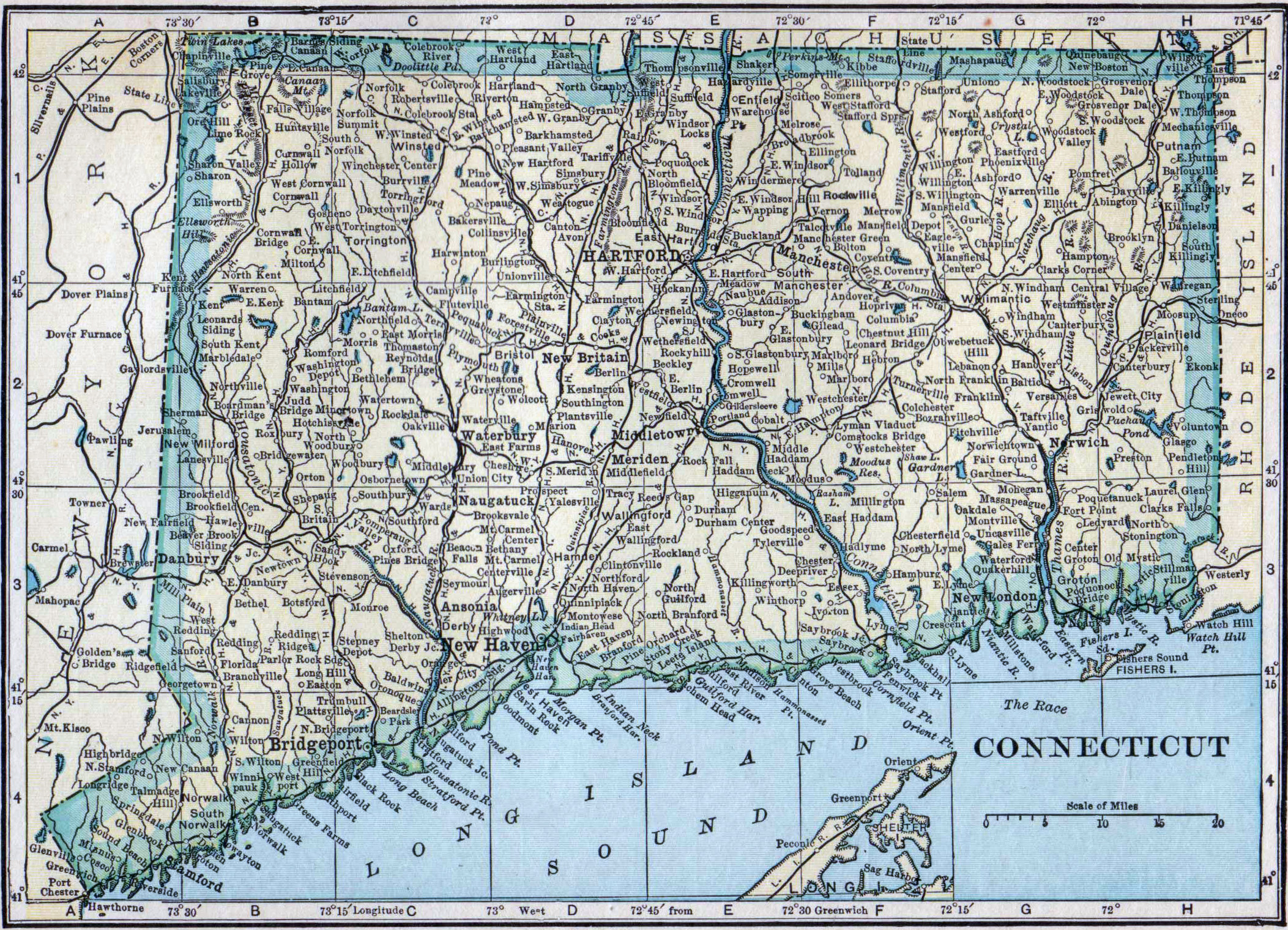 Detailed old map of Connecticut state with all cities 1923