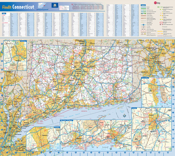 Large detailed road map of Connecticut state with all cities.