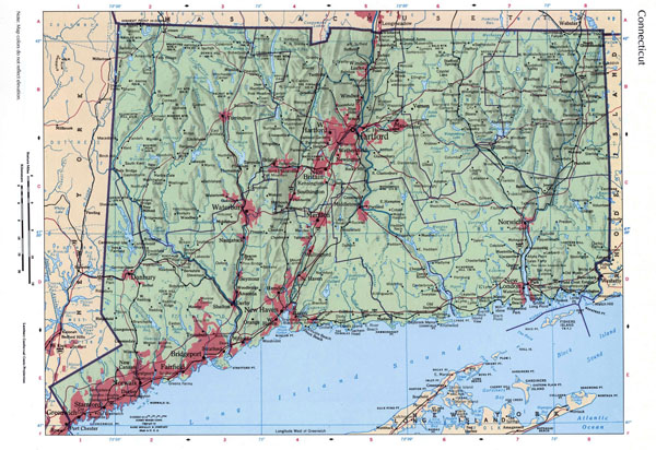 Large detailed roads and highways map of Connecticut state with relief and all cities.