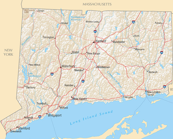 Large highways map of Connecticut state with relief.