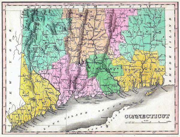 Large old map of Connecticut state - 1824.
