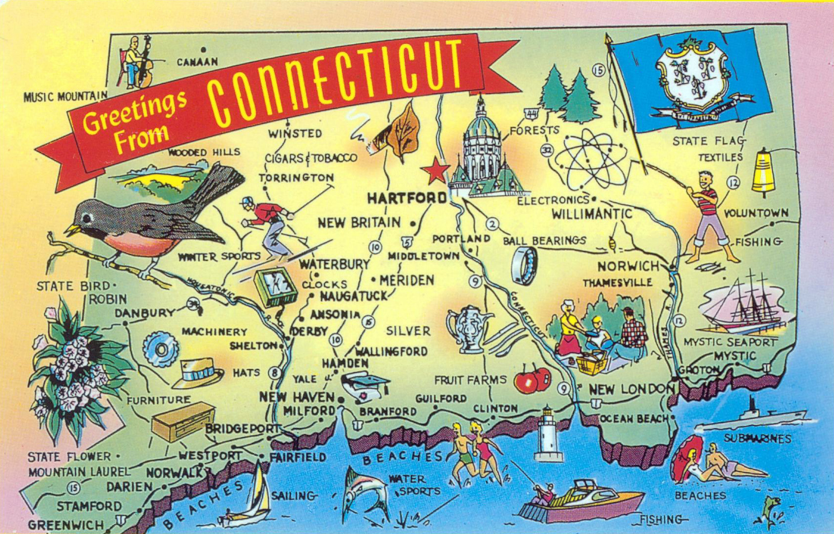 Large tourist illustrated map of Connecticut state | Vidiani.com ...