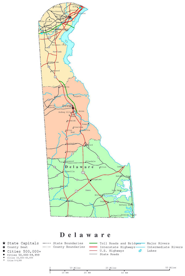 Detailed administrative map of Delaware state with highways and cities.