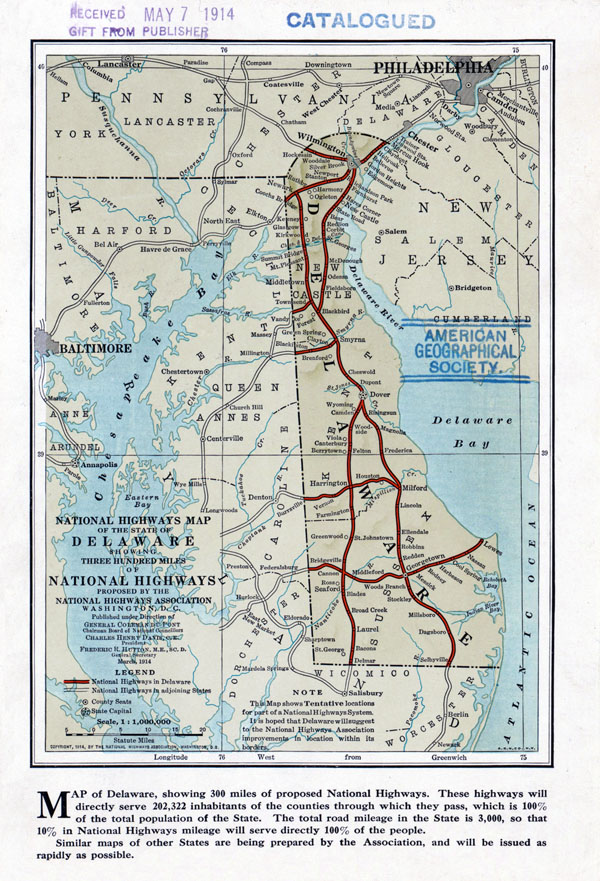 Large National Highways Association old map of the state of Delaware - 1914.