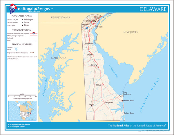 Large detailed map of Delaware state.