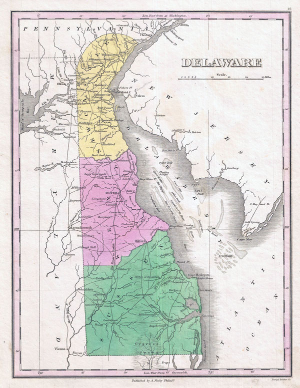 Large detailed old map of Delaware state - 1827.