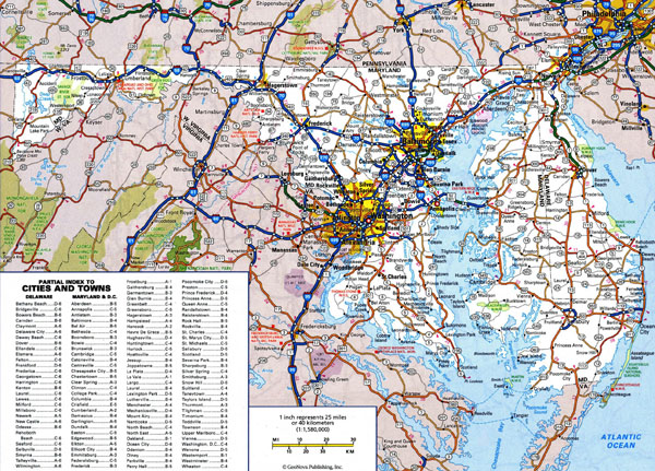 Large detailed roads and highways map of Delaware and Maryland states with all cities.