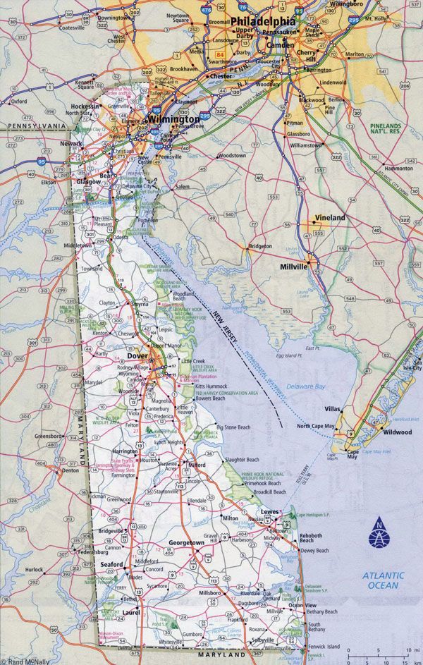 Large detailed roads and highways map of Delaware state with all cities.