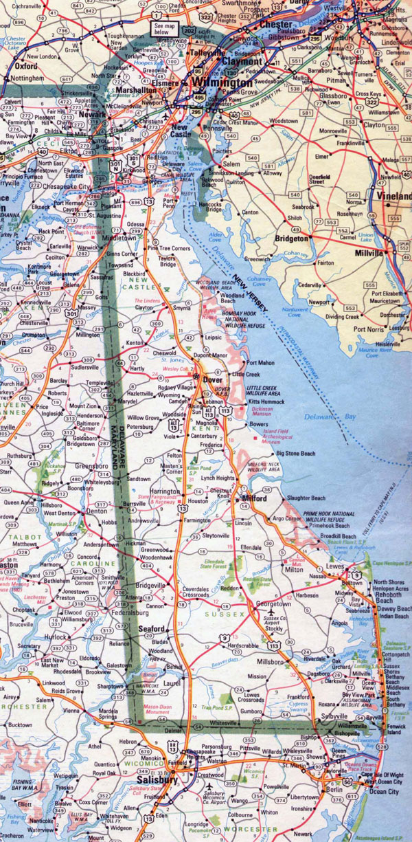 Large roads and highways map of Delaware state - 1983.