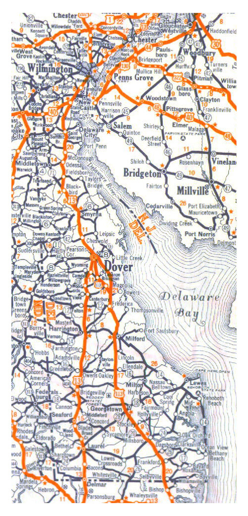 Roads and highways map of Delaware state - 1938.