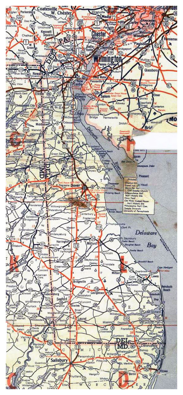Roads and highways map of Delaware state - 1951.