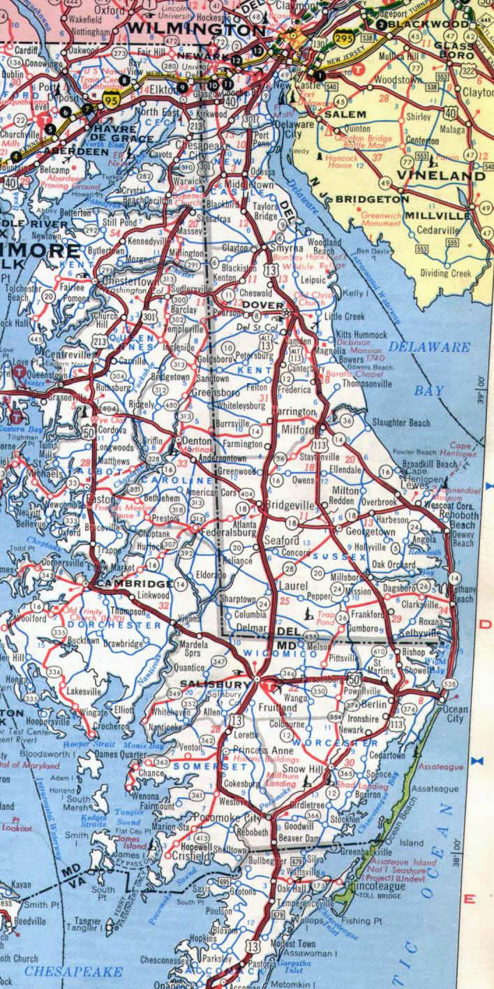 Roads and highways map of Delaware state - 1971.