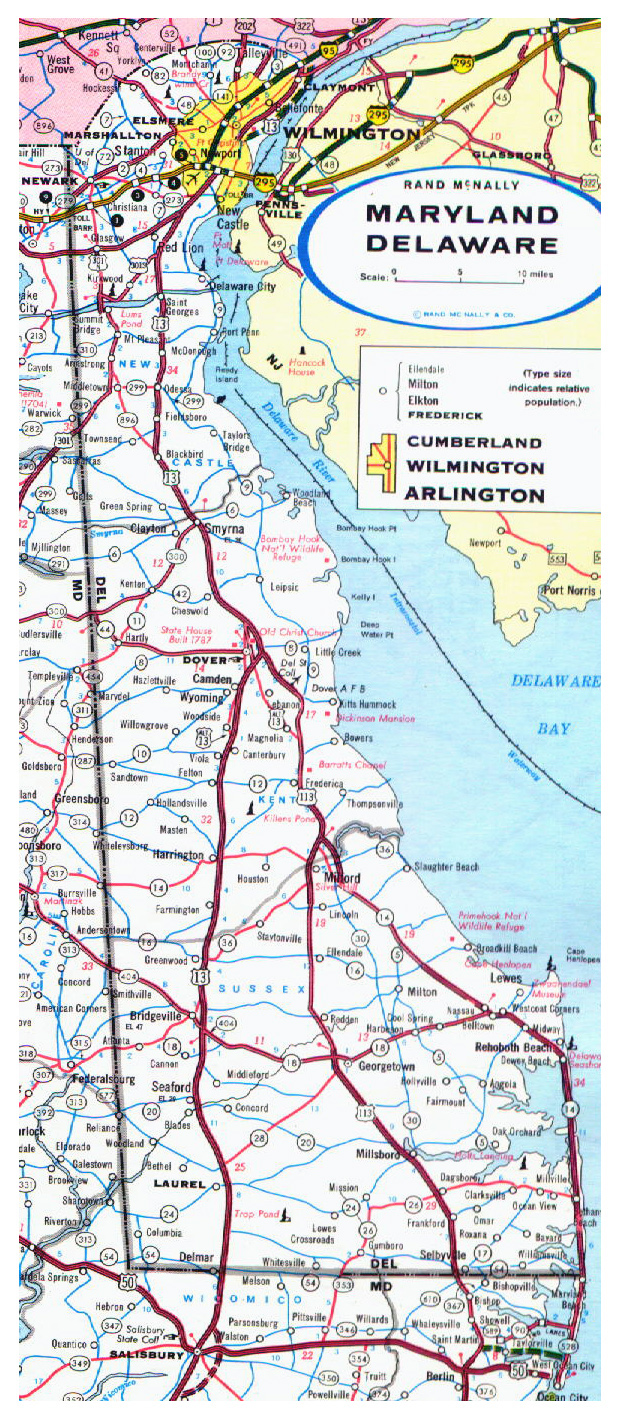 Roads and highways map of Delaware state - 1973.
