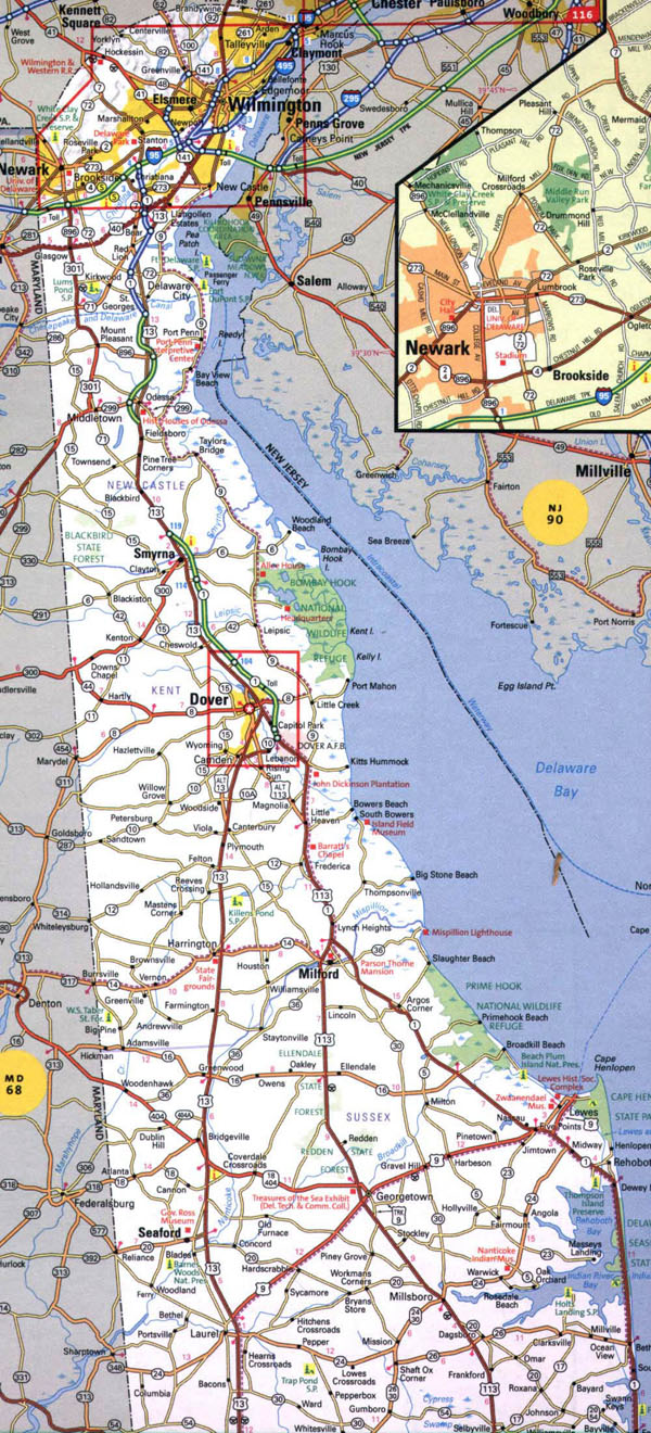 Roads and highways map of Delaware state - 2000.