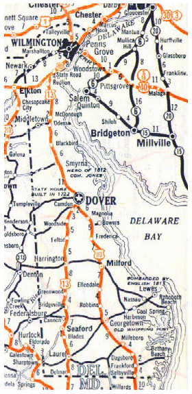 Small roads and highways map of Delaware state - 1928.