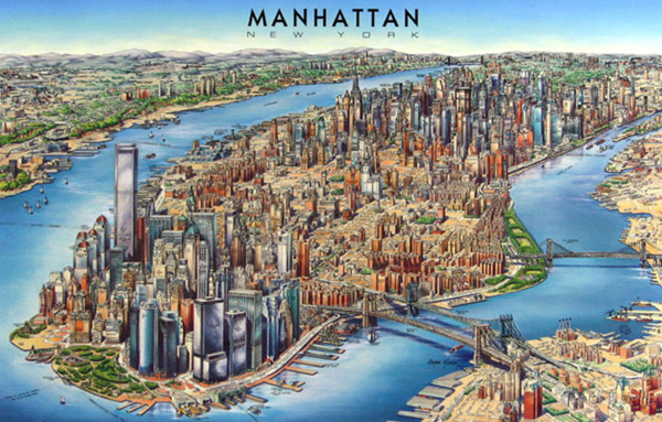 Detailed 3d map of Manhattan. Manhattan detailed 3d map.