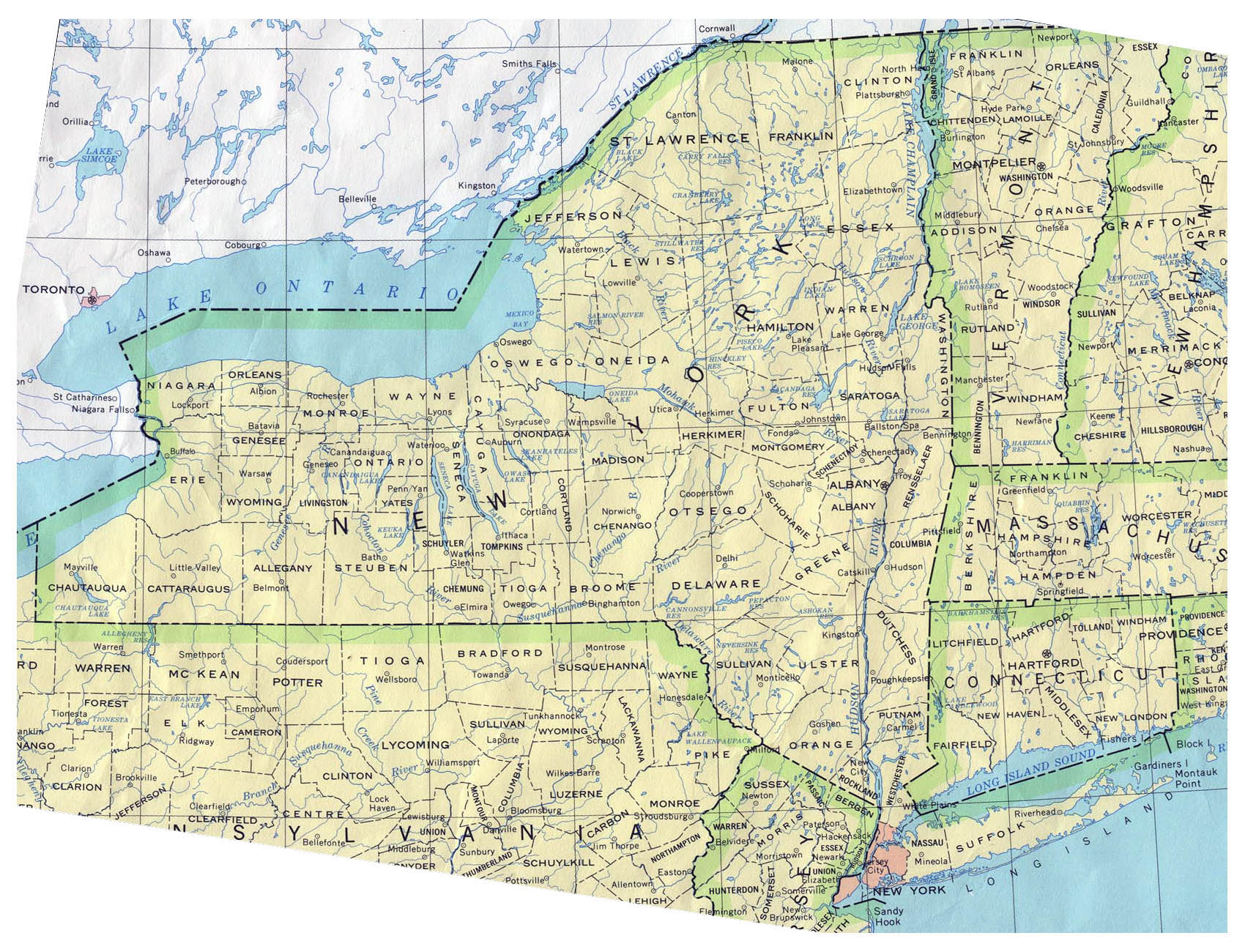 Detailed administrative map of New York State New York State