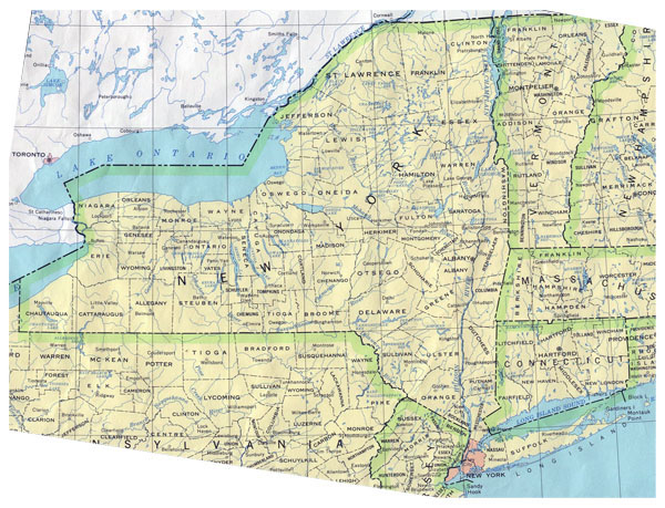 Detailed administrative map of New York State.