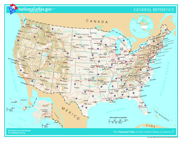 Detailed geographic map of the USA.