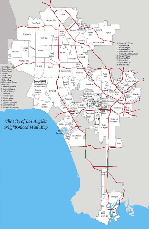 Detailed map of Los Angeles city and neighborhoods.